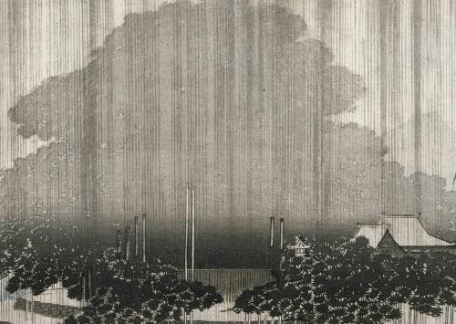 Ando Hiroshige - Evening Rain on the Karasaki Pine (1835)