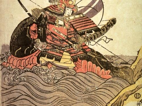 Tamagawa Shucho - The Warrior Atsumori on Horseback in Sea (1805)