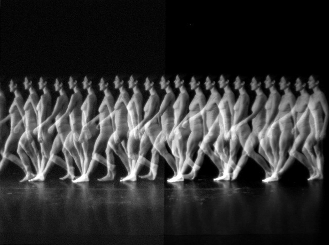 Chronophotography of dancer Ami Shulman walking, Montreal, July 2009 Credit Butch Rovan