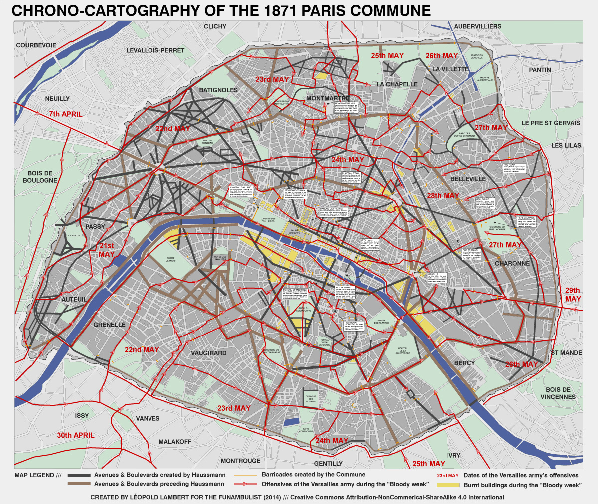 MAP PARIS COMMUNE 1871 Leopold Lambert