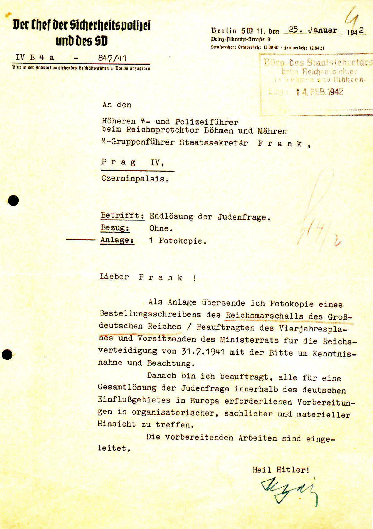 Heydrich letter concerning the Final Solution