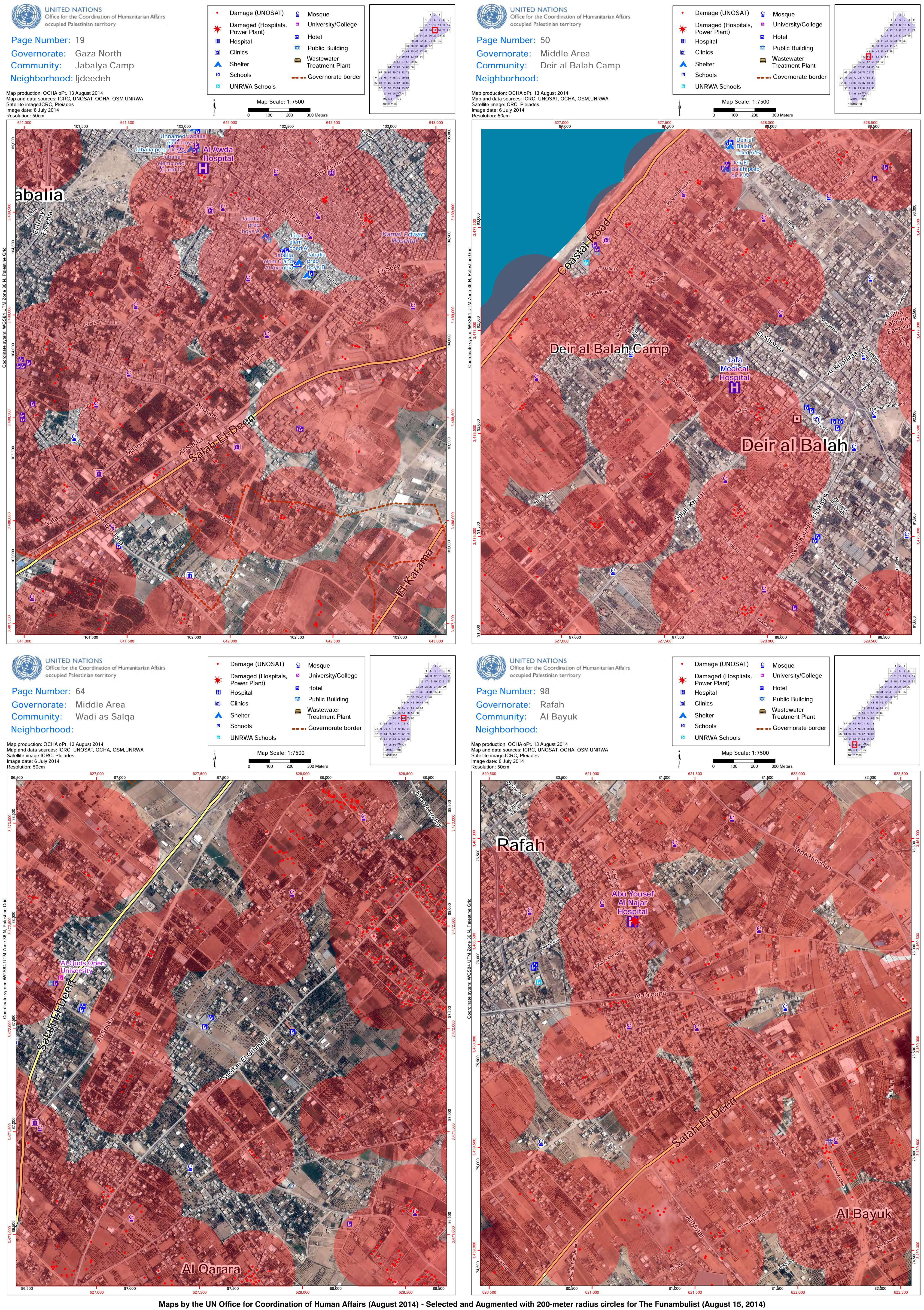 Map Gaza (Funambulist August 15 2014)