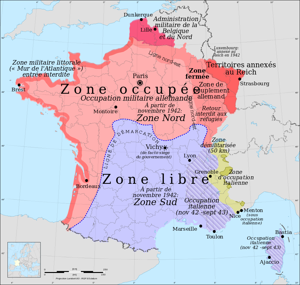 Map Of France In The World.History Bridging The Thickness Of The Demarcation Line During