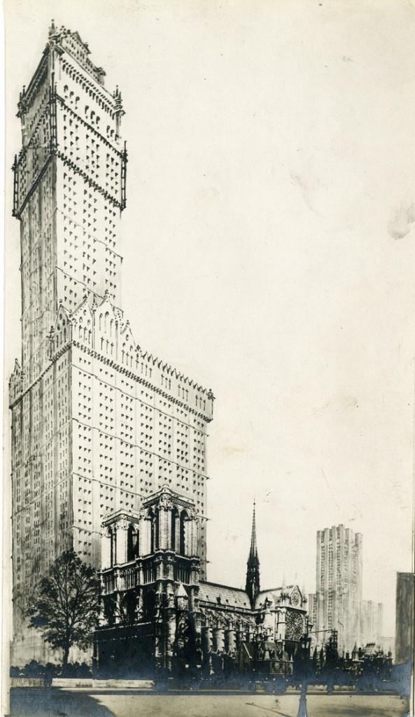 13-L. Bonnier Photomontage ND de Paris & Woolswort Building de NY