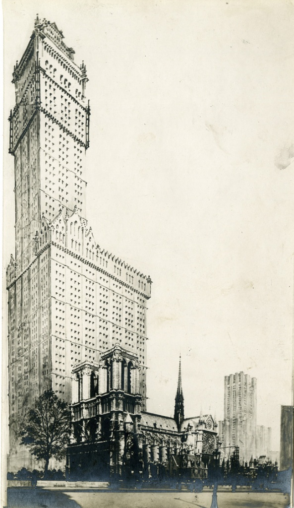 13-L. Bonnier Photomontage ND de Paris & Woolswort Building de NY