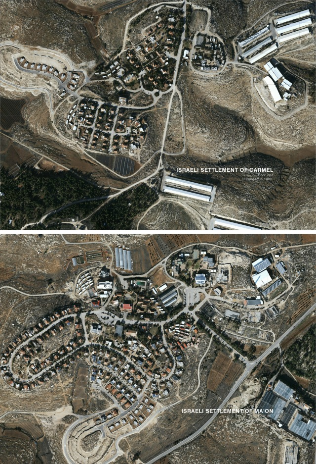 Maps carmel and ma'on settlements (The Funambulist)
